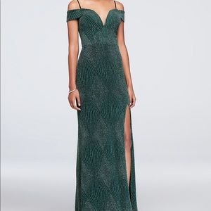 Deep V-Neck Cold Shoulder Glitter Sheath Gown